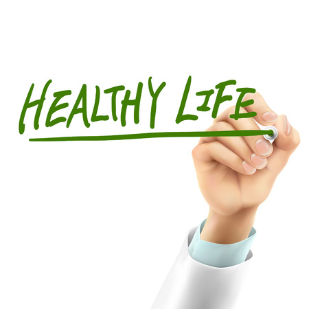 intern: doctor writing healthy life words in the air Illustration