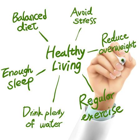 buen vivir: Doctor que escribe palabras de vida saludables en el aire Vectores