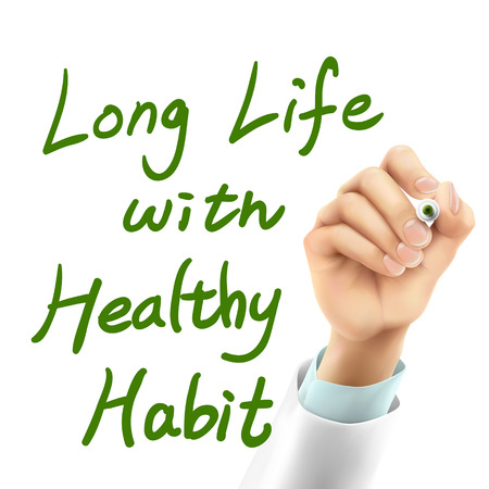 eating habits: doctor writing long life with healthy habit words in the air