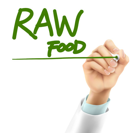 raw food: doctor writing raw food words in the air
