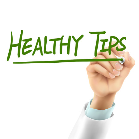 tips: doctor writing healthy tips words in the air