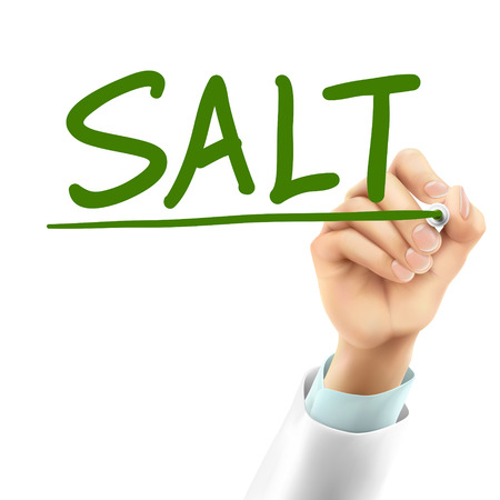iodine: doctor writing salt word in the air