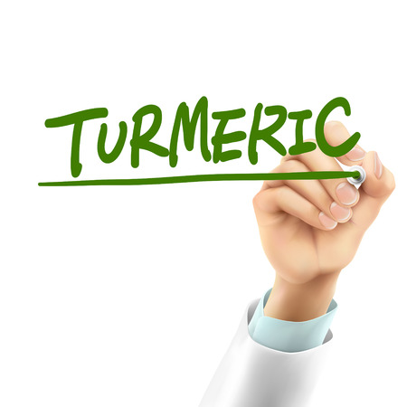 doctor writing: doctor writing turmeric word in the air