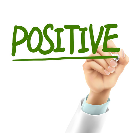 idealistic: doctor writing positive word in the air