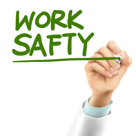 workplace safety: doctor writing work safety words in the air