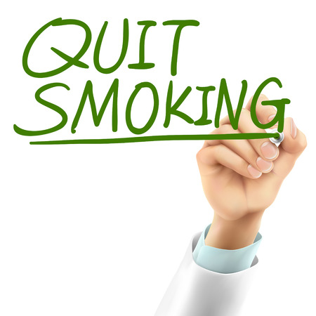 quit smoking: doctor writing quit smoking words in the air Illustration