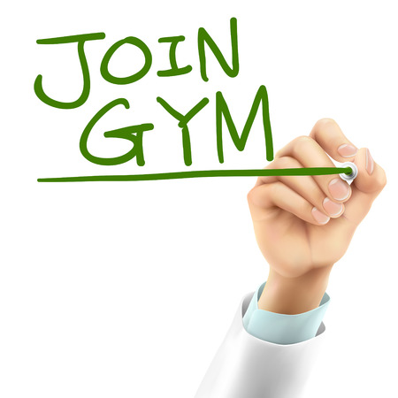 intern: doctor writing join gym words in the air