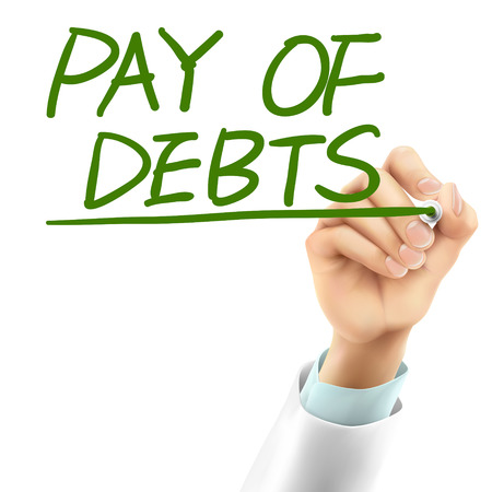 financial advice: doctor writing pay of debts words in the air