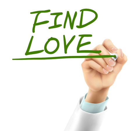 finding love: doctor writing find love words in the air Illustration