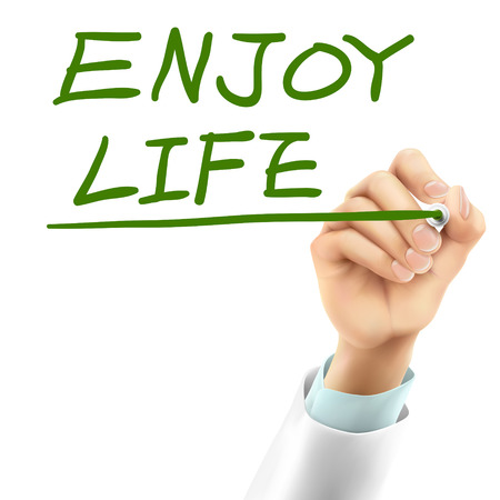 enjoy life: doctor writing enjoy life words in the air