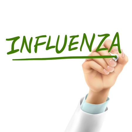 internist: doctor writing influenza word in the air