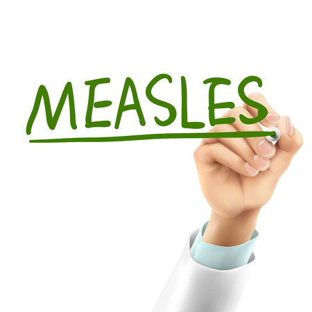 mumps: doctor writing measles word in the air