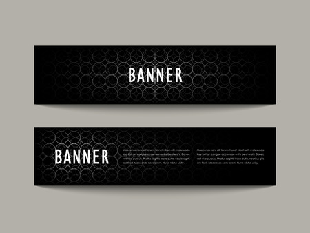 recent: futuristic style banner design set with silver circles pattern over black background