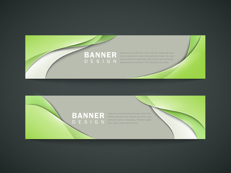 abstract banner set design with elegant green streamline pattern over grey background