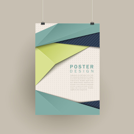 trendy poster design with origami style elements in blue and green Illustration