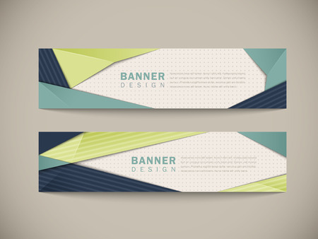 trendy banner set design with origami style elements in blue and green