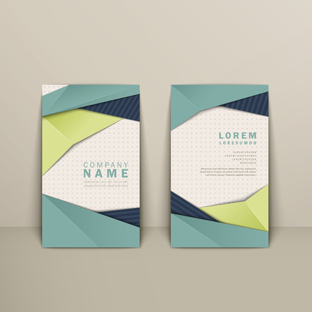Trendy Business Card Design With Origami Style Elements In Blue