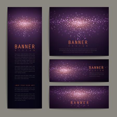 gorgeous glitter banner design set in elegant purple background