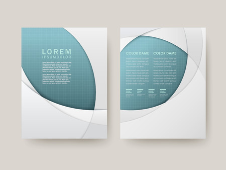 brochure with elegant arc design in blue and white Illustration