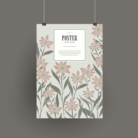 graceful: graceful floral poster design in retro color