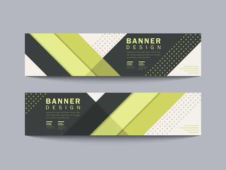 modern geometric banner design with line and spot elements in green