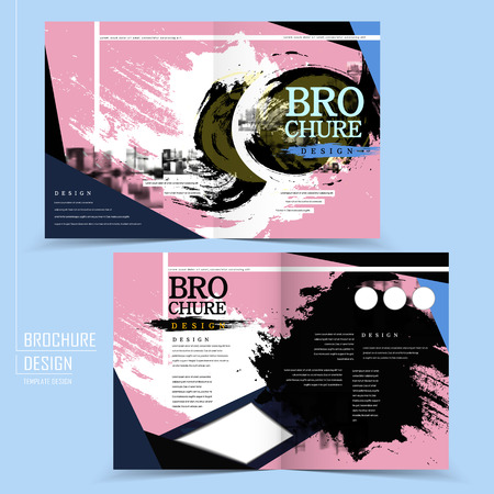 combinations: contemporary half-fold brochure design with calligraphy splash element in black and pink