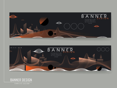 bandera futurista con un paisaje abstracto de la ciudad en naranja y negro