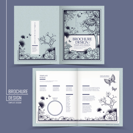 graceful half-fold brochure design with butterflies and plants over blue background