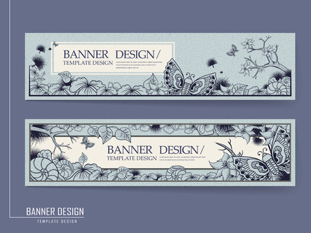 graceful: graceful banner design with butterflies and plants over blue background