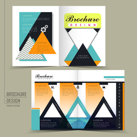 attractive half fold brochure design with triangle elements in