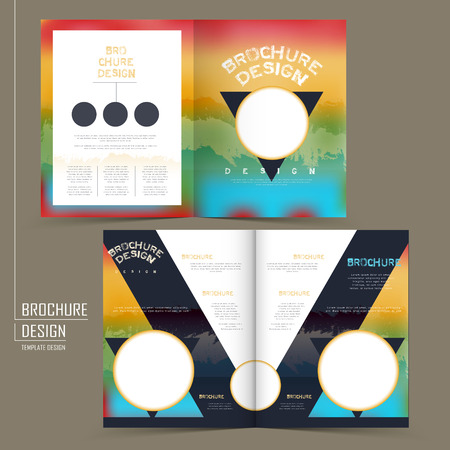 modish: rainbow colored half-fold brochure template design with triangle and circular elements