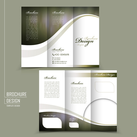 graceful tri-fold brochure template design in elegant golden color