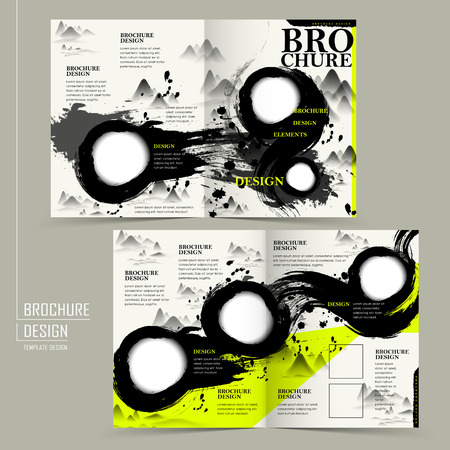 green and black: attractive half-fold brochure design with calligraphy stroke background