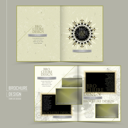 delicate: elegant half-fold template design with delicate geometric element Illustration