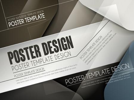 translucent: modern poster template design with curved paper background Illustration