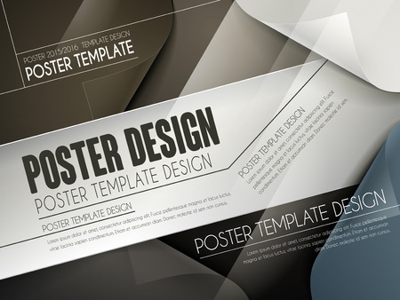 modern poster template design with curved paper background Illustration