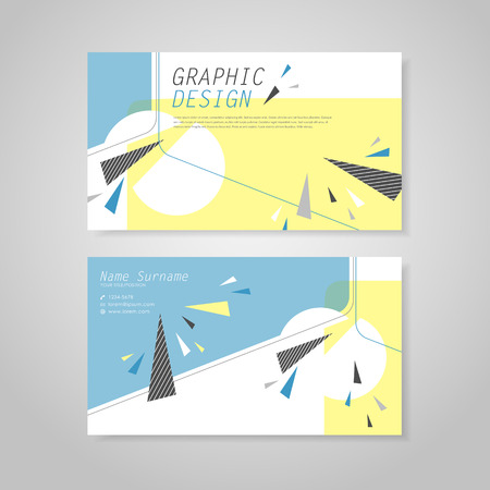 user name: trendy business card template design with triangle elements in blue and yellow