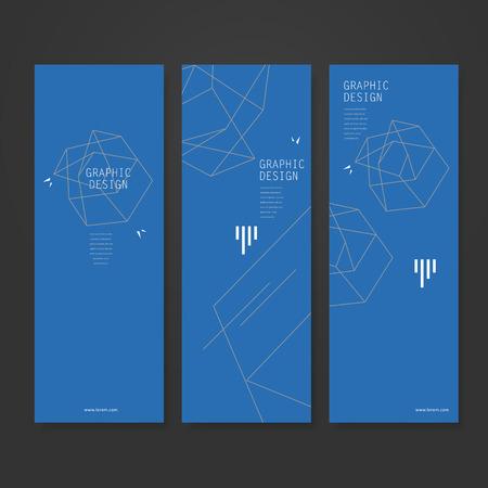 remarkable: simplicity banner template design with elegant polygon element over blue background