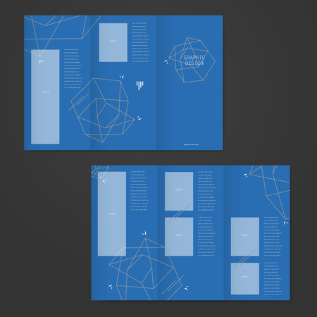 simplicity: simplicity tri-fold brochure template design with elegant polygon element over blue background