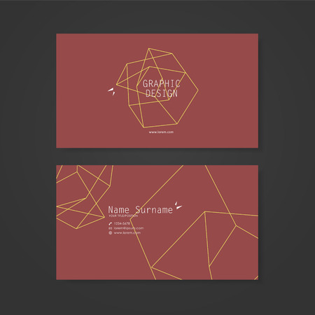 the simplicity: simplicity business card design with elegant polygon element over red background Illustration