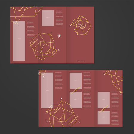 simplicity: simplicity tri-fold brochure template design with elegant polygon element over red background