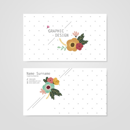 lovely business card template design with elegant flower element over grey spotted white background Illustration