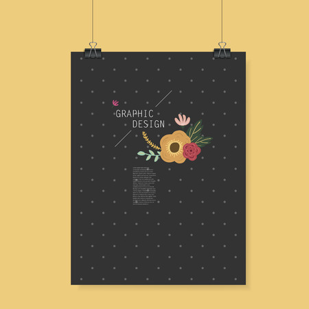 spotted flower: lovely poster template design with elegant flower element over grey spotted black background