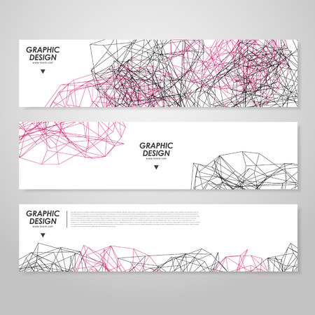 twining: abstract banner design with modern geometric polygon element over white Illustration