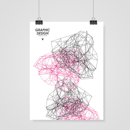 twining: abstract poster design with modern geometric polygon element over white Illustration