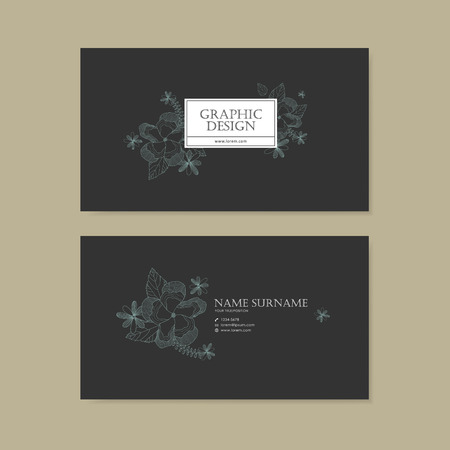 delicate: graceful business card template design with delicate blue floral pattern