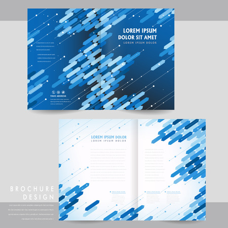 pamphlet: high-tech half-fold brochure template design with blue geometric elements Illustration