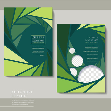 charming: charming brochure template design with triangle background in green Illustration