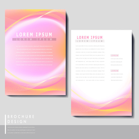 flyer layout: abstract brochure template set design with pink and yellow blurred background