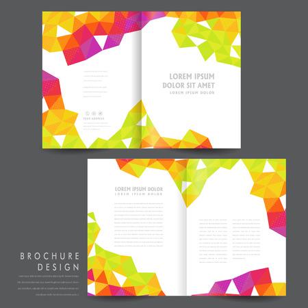 presentation folder: attractive half-fold brochure template design with colorful polygon elements over white